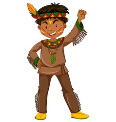 American indian boy in traditional clothes vector image vector image