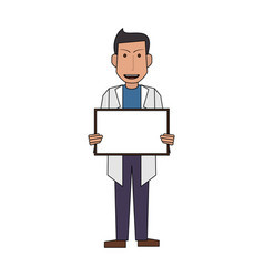 Colorful silhouette full body caricature doctor vector