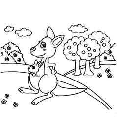 Kangaroo Coloring Pages vector image vector image