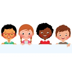 Kids and banner vector image