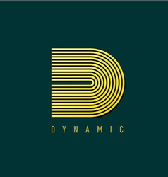 Letter D lines style retro design logo template vector image vector image