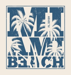 miami beach tee design with palms vector image vector image