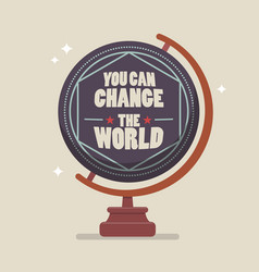 you can change the world lettering on globe model vector image