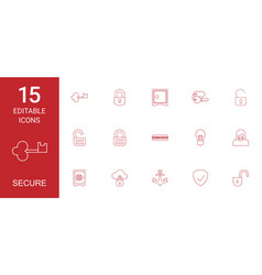 15 secure icons vector image