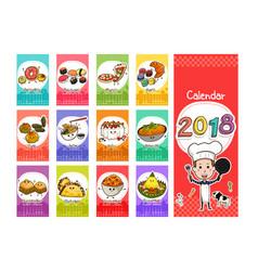 2018 food themed calendar in cartoon style vector