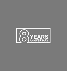 8 years anniversary logotype with white color vector