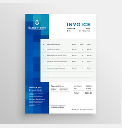 Abstract creative blue business invoice template vector