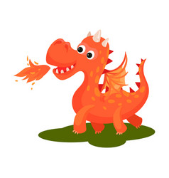 adorable red dragon breathing with fire cute vector image