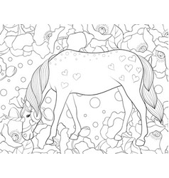 Adult coloring bookpage a cute unicorn for vector