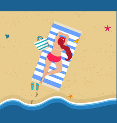 aerial view of young woman lying on sandy beach vector image