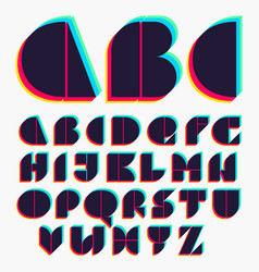 Alphabet with stereo effect vector