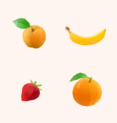 Apricot banana strawberry orange vector