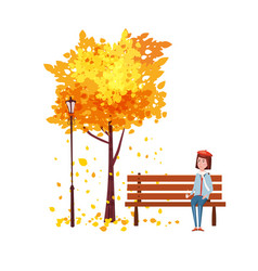 Autumn happy girl sitting on a bench with a cup vector