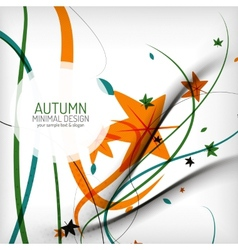Autumn swirl lines and leaves on white vector