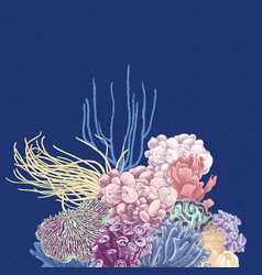 background with colorful coral reef vector image