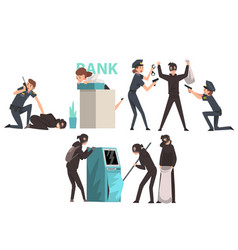 bank robbery set armed masked burglars stealing vector image