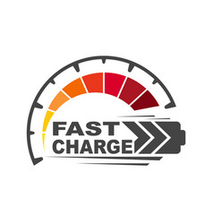 battery charging logo icon quick and fast charge vector image