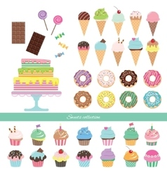 Birthday set with different sweets vector