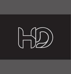 Black and white alphabet letter hd h d logo vector