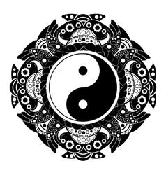 Black and white henna tatoo mandala yin vector