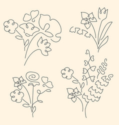 bouquet set made of continuous lines flowers vector image
