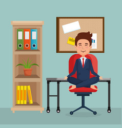 businessman practicing yoga in office chair vector image