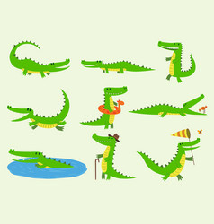 Cartoon crocodiles characters different vector