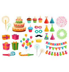 cartoon party kit rocket fireworks colorful vector image