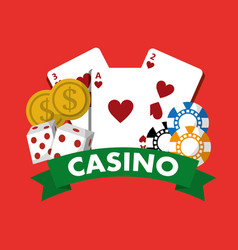 casino poster money chips cards dice game banner vector image