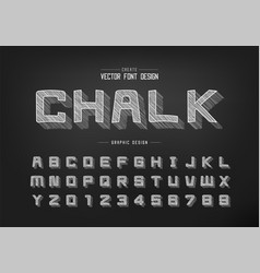 chalk shadow cartoon font and alphabet pencil vector image