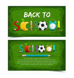 colored back to school banner set vector image