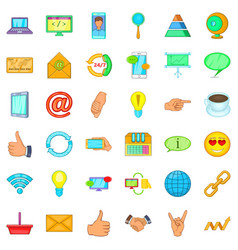 Connection network icons set cartoon style vector