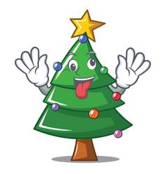 crazy christmas tree character cartoon vector image