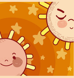 Cute and tender stars cartoons vector