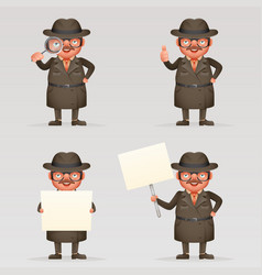 Cute detective spy investigation coat magnifying vector