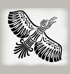 Decorative stylized bird crows in the ethnic style vector