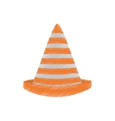 Drawing traffic cone caution sign vector