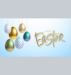 Easter greeting background with realistic golden vector