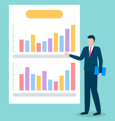 Employee presenting business graph report vector
