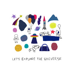 Explore universe cutout collage nature space star vector