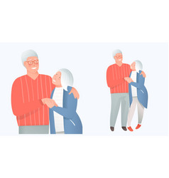 Family concept senior hugging protection vector