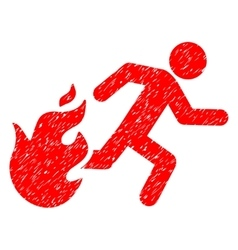 Fired Running Man Grainy Texture Icon vector