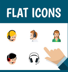 Flat icon hotline set of telemarketing secretary vector