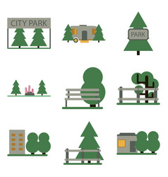 Flat icons set parks vector