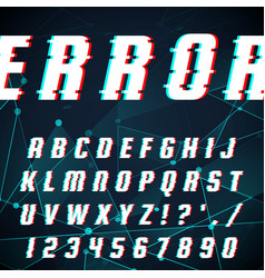 font in glitch style vector image