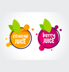 Fresh berry and orange fruit juice label icon vector