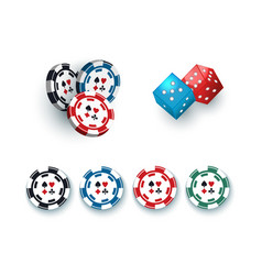 Gambling dices and casino chips tokens vector