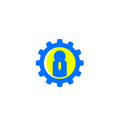 Gear business people logo vector