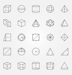 Geometry and trigonometry icons set vector