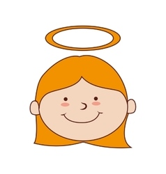 Girl halo smiling icon graphic vector